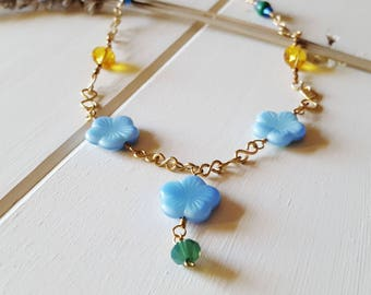 Abigail Flower Necklace - Blue Flower Necklace, Ready to Ship