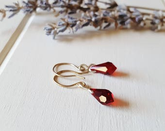 Cora - Simple Red Crystal Drop Earrings, Ready to Ship