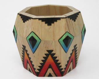 Southwest Wood Burned Vase