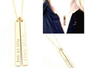 Personalized Vertical Bar Necklace - Custom 14k Gold Filled Tags - Personalize with Roman Numeral Dates or How YOU Want - Hand Stamped Tags