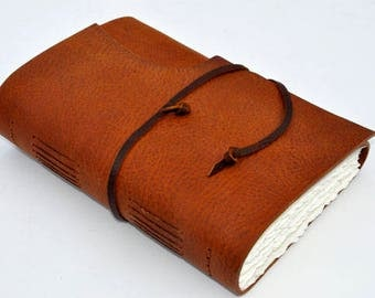 "Handmade Leather Journal 10 1/2"" x 7 1/2"" - 140 lb watercolor paper - Sketchbook - Steampunk"