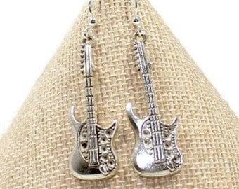 Guitar Earrings - Guitar Jew Silver Guitar Earrings - Electric Guitar Earrings -Guitar Gift - Guitarist Gift, Music Teacher Gifts, E144
