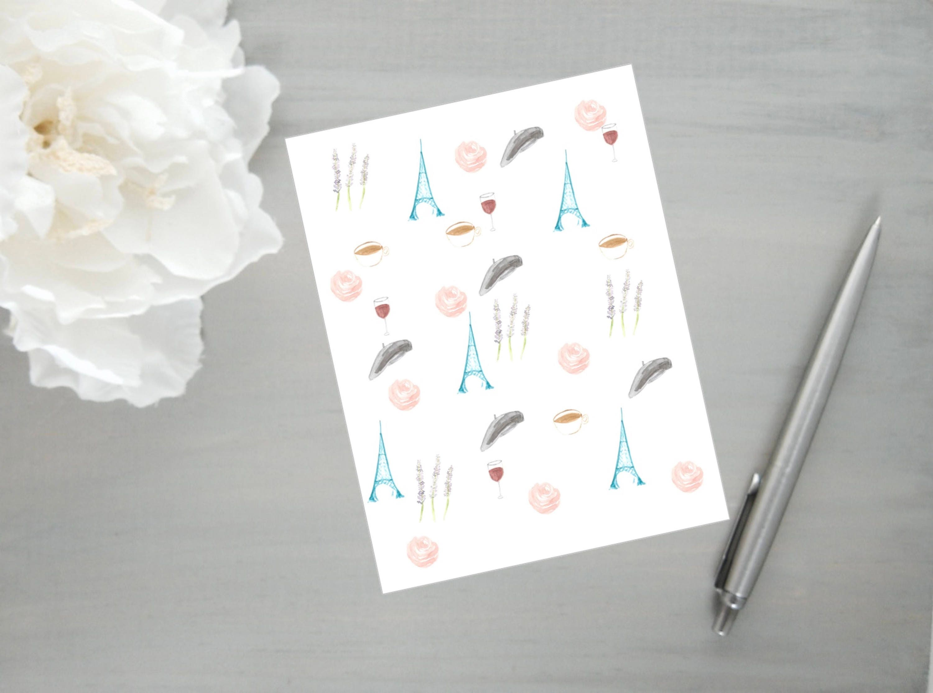 printable stationery digital download paris cards french pattern