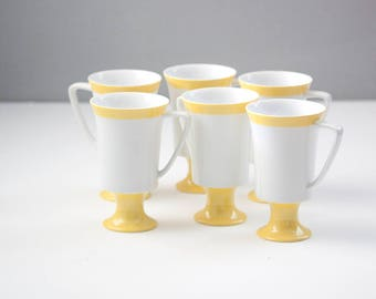 Set of 6 Irish Coffee Mugs, Yellow and White Fine SEYEI China Made in Japan