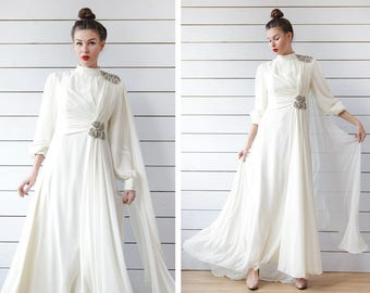 Winter wedding dress etsy 70s vintage white modest bridal goddess rhinestone bead embroidery long sleeve winter wedding dress s m junglespirit Image collections