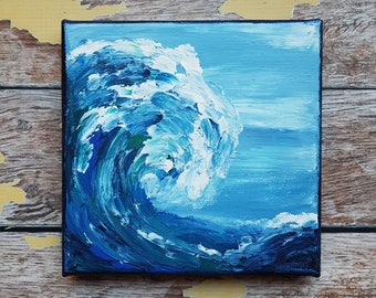 "Ocean Canvas Art | Wave Painting | Ocean Art | Beach Decor | 6x6 | ""The Sea is Making"" 