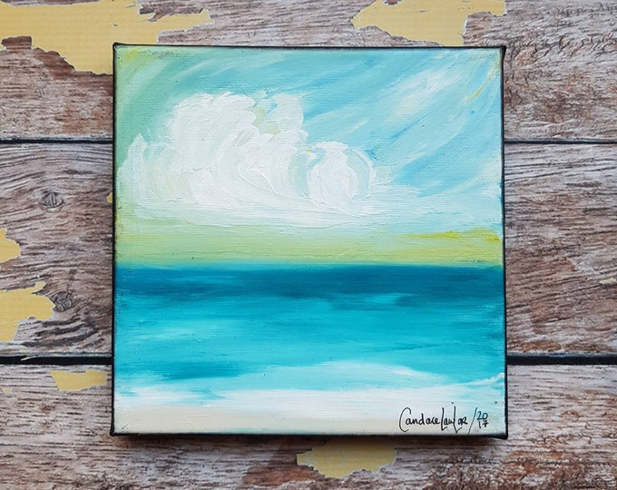 "Seascape Canvas Art | Coastal Painting | Ocean Art | Beach Decor | 6x6 | ""Safe Haven"" 