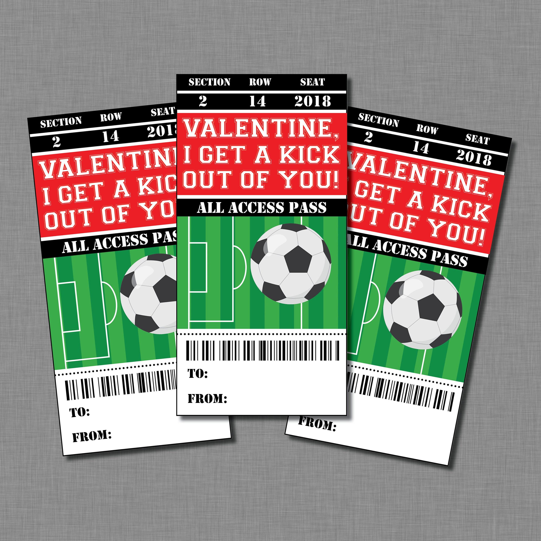 Soccer Valentine Cards kids sports boys girls Printable Classroom – Boys Valentines Cards