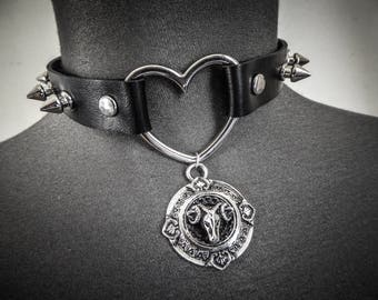 Peaks ♰666 Devil 666♰ punk goth silver leather bib necklace