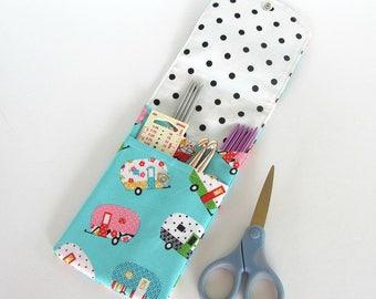 Knitting Needle Storage Case, Crochet Hooks, Notions Pouch - needles organizer - Aqua Shasta Camper Trailer