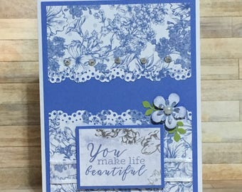 Handmade card, greeting card, occasion card, blue, flower