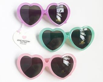 Vintage retro Heart frame Sunglasses Pastel pink green purple-kawaii sunglasses-lolita-hipster-summer glasses-love factory ny