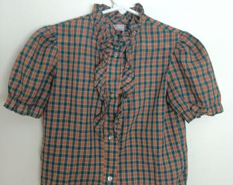 Vintage girls button up blouse shirt size 6 6x with ruffles