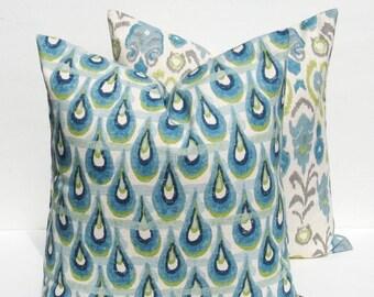 15% Off Sale THROW PILLOW COVER, Blue pillow, Green Pillow , Burlap pillow, Decorative pillow , Accent Pillow, Throw Pillows,  Blue pillow c