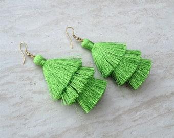 Lime Silk Tassel Earrings Layered Green Tassle Earrings Tassel Drop Earrings Statement Earrings Summer Jewelry Tassel Fringe Earrings
