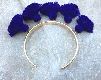 FIESTA Navy Tassel Bangle, Gold Bangle Bracelet, Navy Blue Tassel Bangle, Bracelets for Women, Gift for Friend, Birthday Gift, Blue Bangle