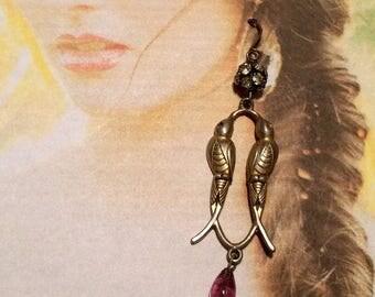 1stDayofSummerSALE Victorian Bird Earrings Edwardian Lovebird Amethyst Paste Bridal Dangles