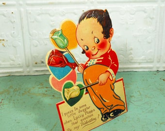 Antique Valentine Card, Rose Lollipops Standup Valentine, Printed in Germany