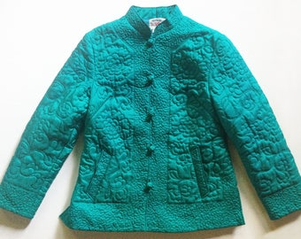 Vintage Chinese Jade Green Silk Quilted Jacket