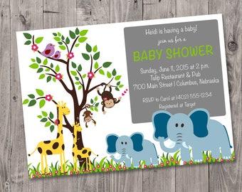Printable Jungle Animal Baby Shower Invitation