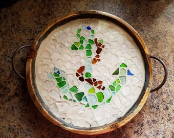 Authentic Lake Erie Sea Glass Serving Tray. One of a Kind.