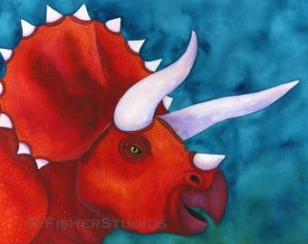Triceratops Art Print Dinosaur Art Print Watercolor Dinosaur Painting Dinosaur Boys Room Decor Baby Boy Nursery Art Watercolor Animal