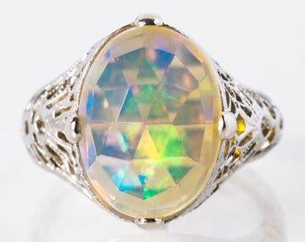 Antique Ring - Antique Edwardian 18k White Gold Faceted Crystal Opal Ring