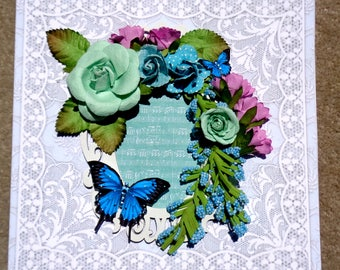 Birthday or Any Occasion Thank You Get Well Shabby Chic Floral Handmade 3D Greeting Card  with 3 Dimensional Flowers