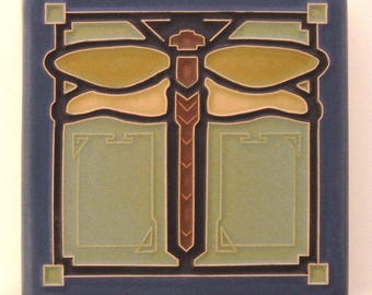 """Dragonfly Tile (Sapphire) 4"""" x 4"""" by Art and Craftsman Tileworks"""