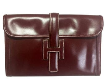 80's vintage HERMES jige, document case, dark wine, bordeaux boxcalf portfolio purse, iPad case. Classic and sophisticated style.