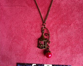 Necklace chain brass birdcage fuchsia 008
