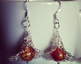 Earrings flowers red and yellow Crackle glass beads