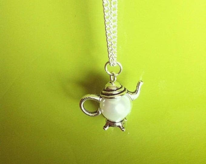 Silver Pendant chain necklace White Pearl teapot