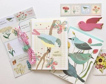 Flora & Fauna Snail Mail Kit | Stationery Set | Birds | Flowers | Notecards