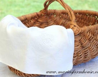 """TEA TOWEL, Vintage Damask Linen, Hand Embroidered Script Monogram Letter """"C"""",  Damask Large Linen Tea Towel, Kitchen Decor, Basket Cover"""