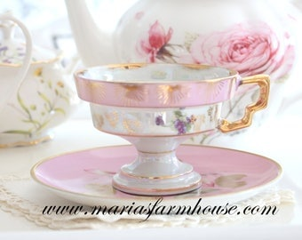 TEA CUP, Vintage, Porcelain Footed Tea Cup & Saucer, Tea Party, Gifts for Her, Replacement China