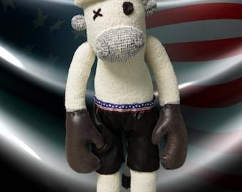Rocky, the boxing sock monkey - unique