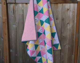 Triangle Baby Quilt, pinks, teals, yellow and birdcages