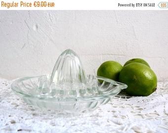 Sale 70 % Off Vintage GLASS LEMON PRESS, French Citrus Fruit Press.