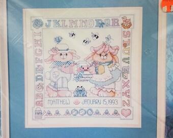 """Brand new Bucilla stamped cross stitch kit""""Garden Bunnies Birth Record"""""""