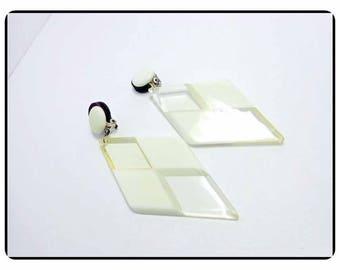 Awesome Plastic Checker-Board Diamond Earrings - Unique Long Earrings -   - E8129a-063017010