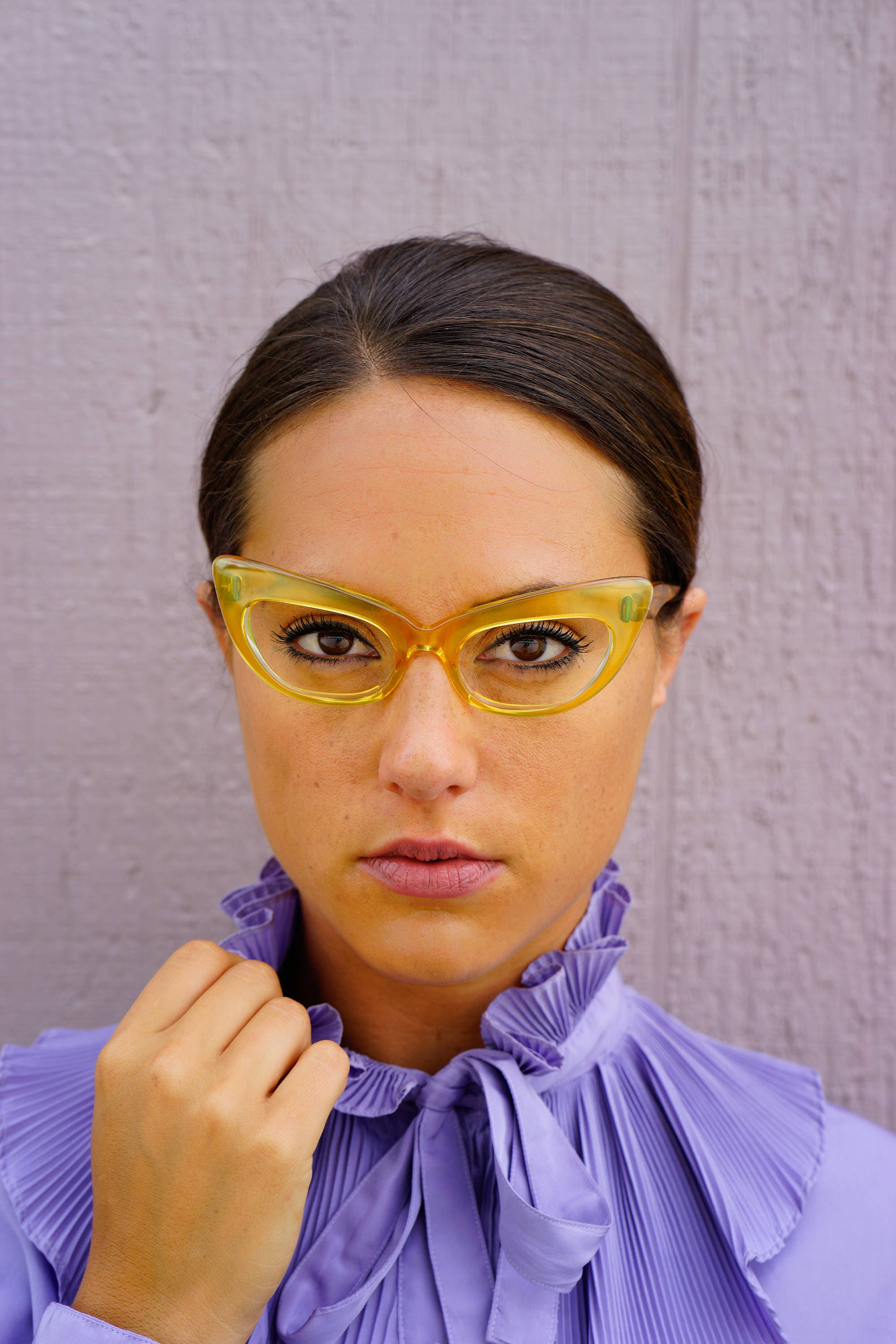3231670f57 Vintage Eyeglass Cat eye glasses 1960 s Frame Made In France By TWE Clear  Yellow Tone Huge