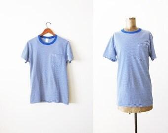 Striped Shirt - Vintage T Shirt - Striped T Shirt - Thin Striped Shirt - 80s Shirt - Pocket T Shirt - Blue White Stripe Shirt - Grunge Shirt