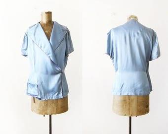 1940s Pajama Top - Vintage Silk Pajama Shirt - Vintage 40s Lingerie Blouse - Powder Blue Silk Wrap Blouse - 40s Silk Shirt - 1940s Clothes