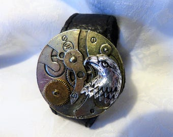 men leather Cuff Bracelet and silver circle with silver and gold metal Eagle steampunk