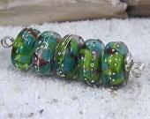 Handmade Lampwork Beads~Organic Disk Beads~Aditi~Boho-Lampies~Earring Pairs~Unique Beads