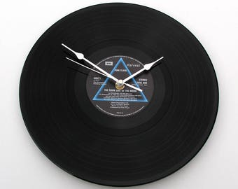 """Pink Floyd CLOCK made from recycled 12"""" vinyl record. Dark Side Of The Moon. Reproduction Gift. Recycled record Gift for men women prog rock"""