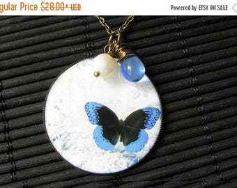 SUMMER SALE Blue Butterfly Necklace. Butterfly Pendant with Fresh Water Pearl and Blue Teardrop. Handmade Jewelry.
