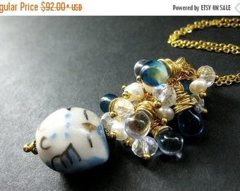 SUMMER SALE Sleepy Owl Necklace. Teardrop Cluster Necklace with Wire Wrapped Teardrops, Crystals and Fresh Water Pearls. Handmade Jewelry.