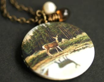 Woodland Locket Necklace. Deer in the Forest Necklace. Deer Necklace with Brown Teardrop and White Pearl Charm. Bronze Necklace.